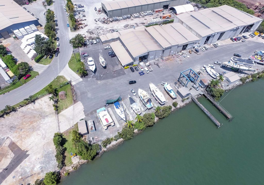 aerial view of facility at one of the top boat yards in brisbane for marina berthing